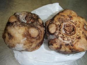 こんにゃく芋は、3年以上のものを冷凍保存しています